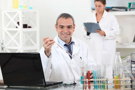Man and woman in laboratory Stock Photo - 14205149