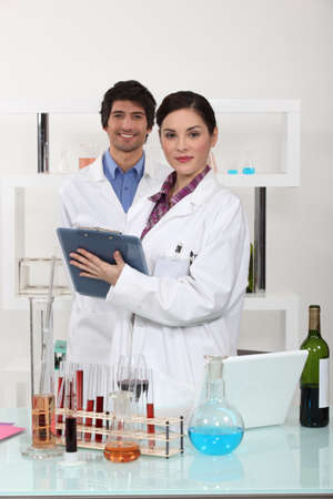 Man and woman in science laboratory photo