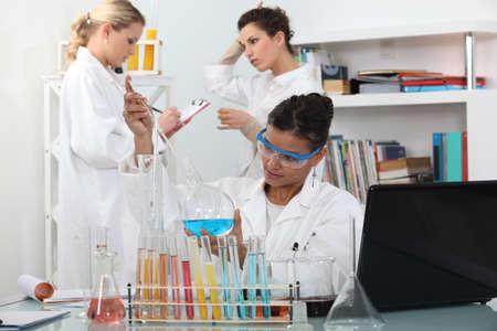 biologist: Three women in science laboratory