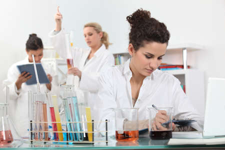 three shelves: Experiment in the Laboratory Stock Photo