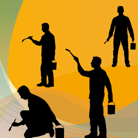 Black clipart of a decorator in various poses photo