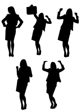 arms akimbo: black silhouettes of ecstatic businesswoman Stock Photo