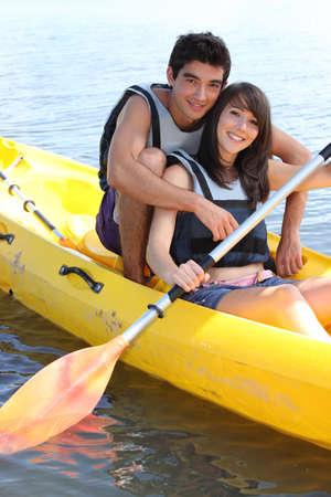 life partner: Couple in canoe
