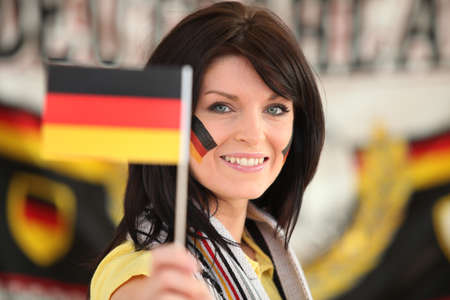 Woman supporting the German football team Stock Photo - 14207349