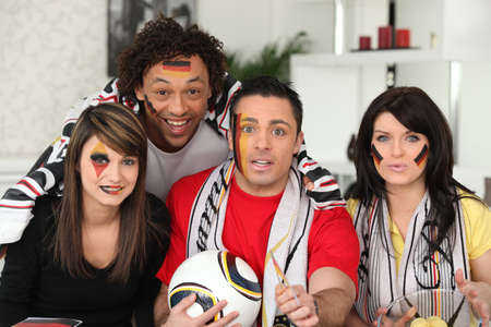 nationalists: A group of friends supporting the German football team