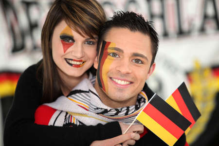 Couple supporting the German football team photo