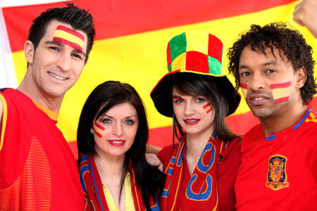 looker: Group of soccer fans backing the Spanish team