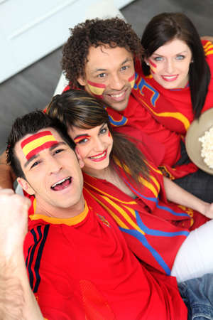 Spanish football fans at home photo