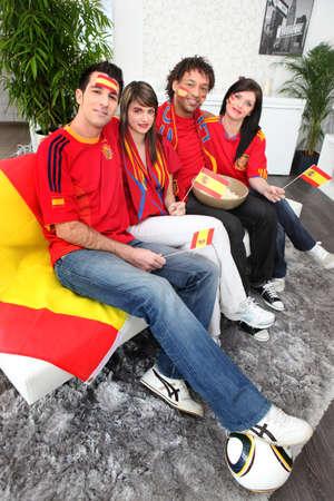 Spanish football fans Stock Photo - 14208375