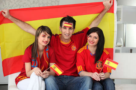 thee: Thee excited Spanish soccer fans