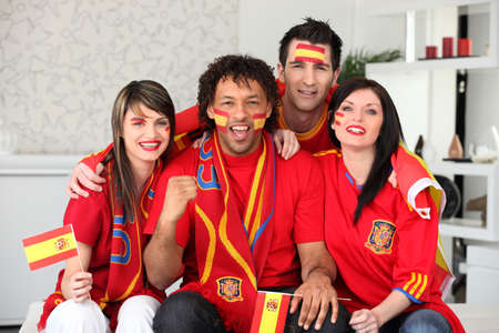 Four Spanish sports fans Stock Photo - 14208369