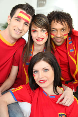 Group of Spanish sports fans photo
