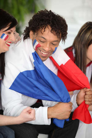 nationalism: French supporters Stock Photo