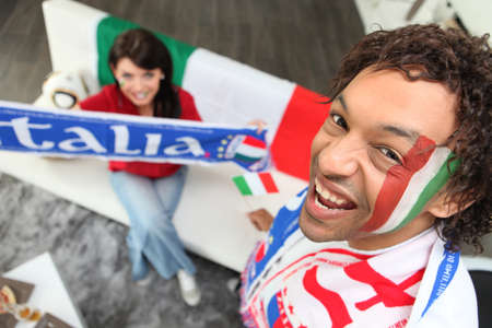 Italian football fans at home photo