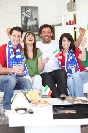 Italian football fans celebrating photo