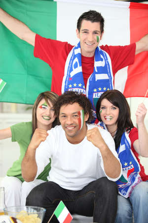 sports fans: italian soccer supporters Stock Photo