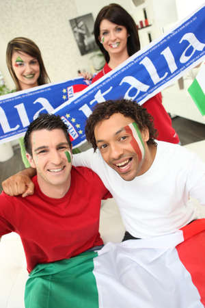 Group of Italian sports fans Stock Photo - 14207895