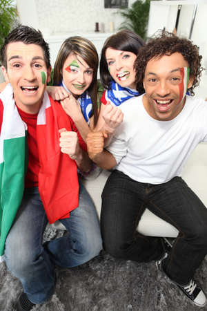 supporter: Four Italian football supporters