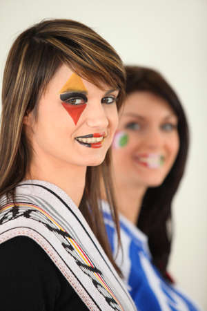 dishy: Two female football supporters