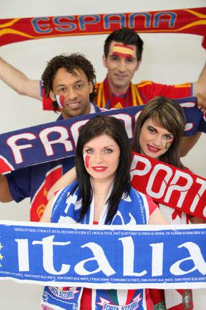 delirious: European football supporters Stock Photo