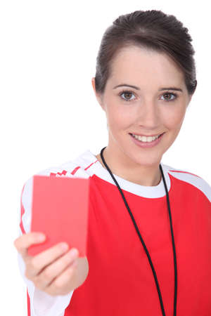 peacemaker: Female soccer referee Stock Photo