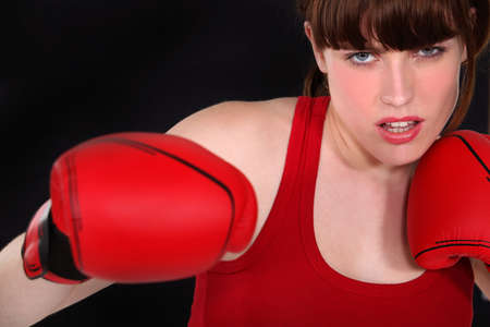 A determined female boxer Stock Photo - 14207525
