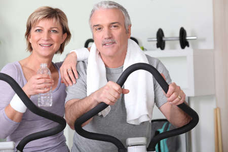 Older couple at the gym photo