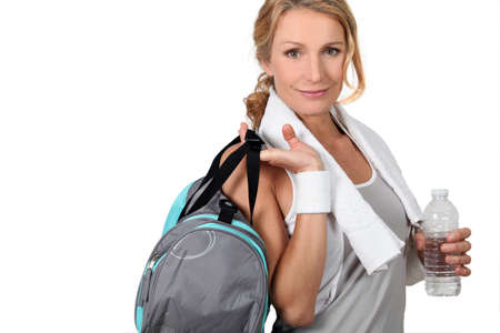 youth sports: Woman with a sports bag