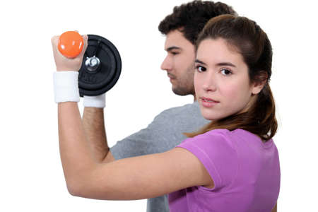 hair band: Couple working out together