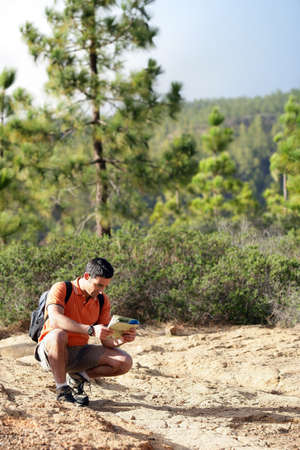 orienteering: Hiker with a map