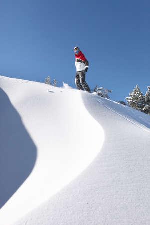 piste: Snowboarder on piste