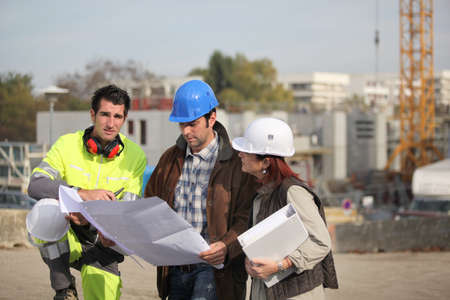 Team on construction site photo
