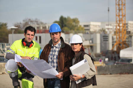 Construction crew working on site Stock Photo - 14212346