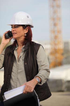 female architect: Female architect with radio Stock Photo