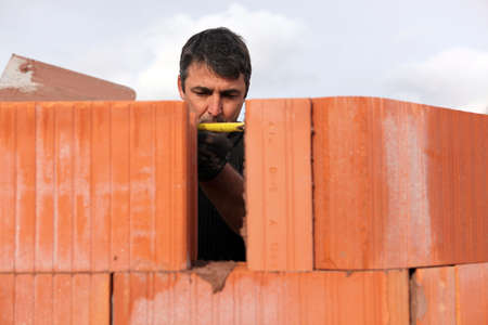 hardworker: An assiduous bricklayer Stock Photo