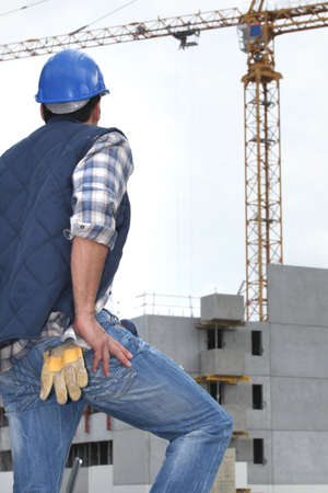worker in front of crane Stock Photo - 14212765