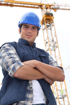Foreman stood in-front of crane Stock Photo - 14212767