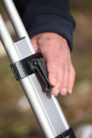 surveyors: close up of male surveyors hand Stock Photo
