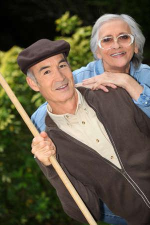 Senior couple in the garden photo