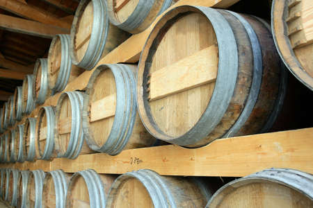fine wood: Barrels stored in a cellar