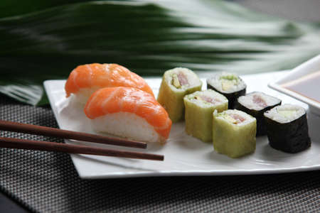Selection of sushi on a plate photo