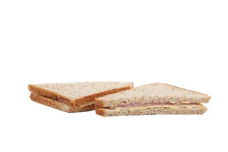 ham sandwich: Square ham and cheese sandwich Stock Photo