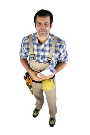 Carpenter with building schematics Stock Photo - 15072299