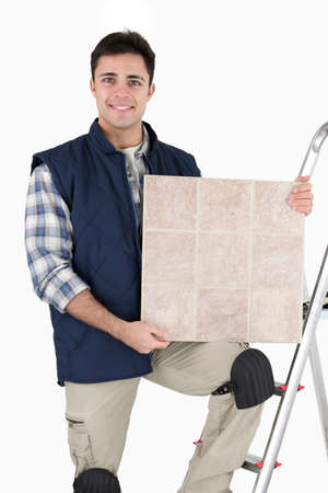 Tiler stood with equipment Stock Photo - 15071909