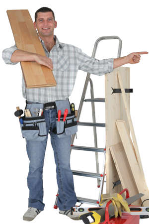 Carpenter pointing right Stock Photo - 15072425