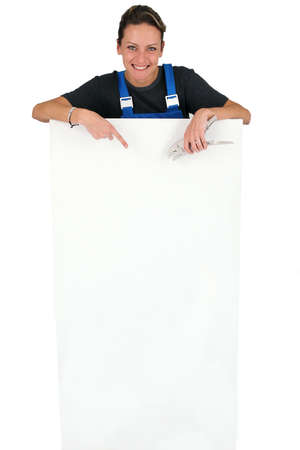 craftswoman holding an advertising board Stock Photo - 15071924