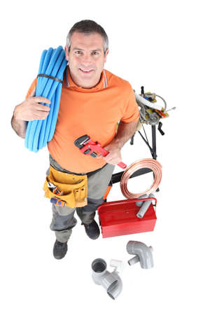 practical: Plumber with tools of the trade