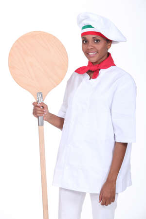 Pizza maker with shovel Stock Photo - 15072618