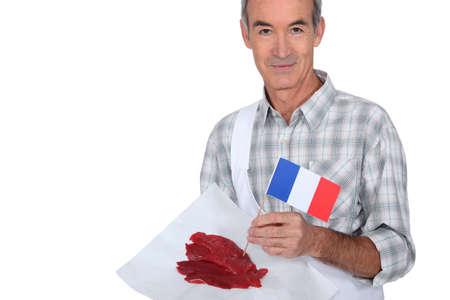 origen animal: Carnicero con los filetes