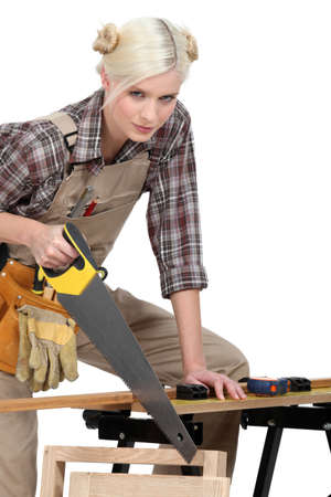 A beautiful female carpenter  photo